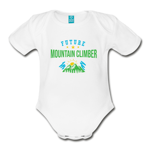 Future Mountain Climber Baby Bodysuit - white