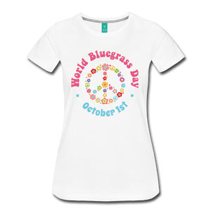 Women's Flower Retro World Bluegrass Day T-Shirt - white