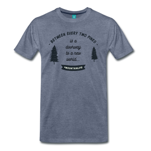 Men's Between Every Two Pines T-Shirt - heather blue