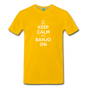 Men's Keep Calm and Banjo On T-Shirt - sun yellow