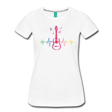Load image into Gallery viewer, Women's Guitar Heartbeat T-Shirt - white