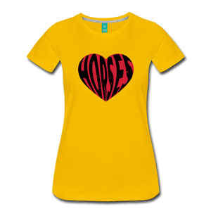 Women's Big Heart Horse T-Shirt - sun yellow
