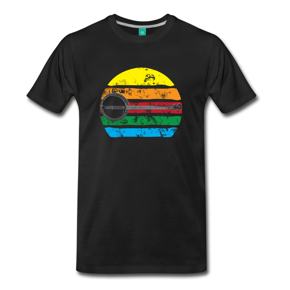 Men's Faded Banjo Rainbow T-Shirt - black
