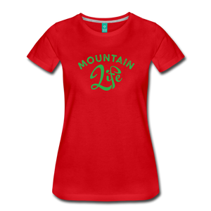 Women's Mountain Life (script) T-Shirt - red