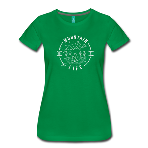 Women's Distressed Mountain Life T-Shirt - kelly green