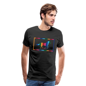 Men's Rainbow Plaid Horse T-Shirt - black
