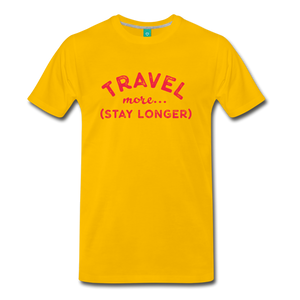 Men's Travel More Stay Longer T-Shirt - sun yellow