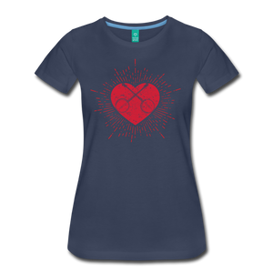 Women's Sunburst Heart Banjo T-Shirt - navy