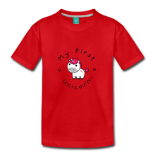 Load image into Gallery viewer, Toddler My First Unicorn T-Shirt (white) - red