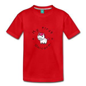 Toddler My First Unicorn T-Shirt (white) - red