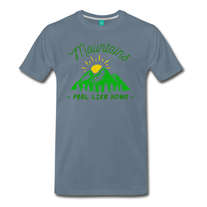 Men's Mountains Feel Like Home T-Shirt - steel blue