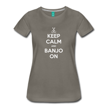 Load image into Gallery viewer, Women's Keep Calm Banjo On T-Shirt - asphalt