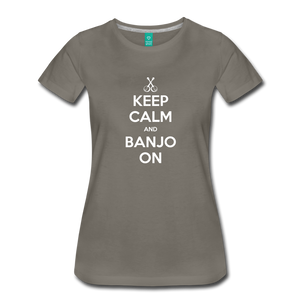 Women's Keep Calm Banjo On T-Shirt - asphalt