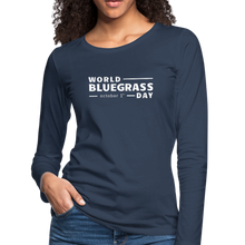Load image into Gallery viewer, Women's White World Bluegrass Day Long Sleeve T-Shirt - navy