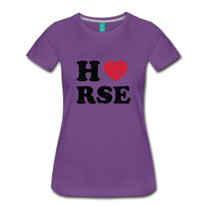Women's Horse Large Letters T-Shirt - purple