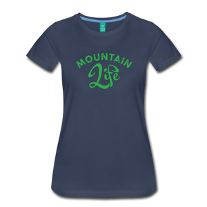 Women's Mountain Life (script) T-Shirt - navy