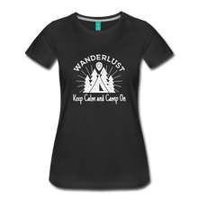 Load image into Gallery viewer, Women's Keep Calm, Camp On (white) - black