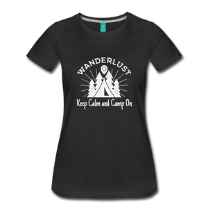 Women's Keep Calm, Camp On (white) - black