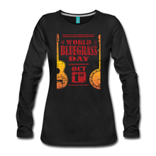 Load image into Gallery viewer, Women's Faded World Bluegrass Day Long Sleeve T-Shirt - black
