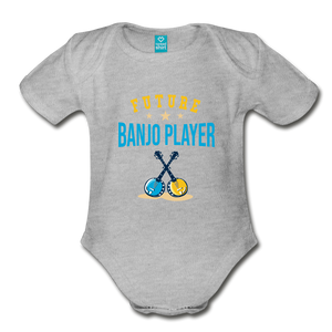 Future Banjo Player Baby Bodysuit - heather gray