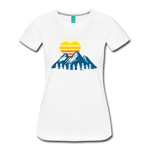 Women's Mountains Sun Heart T-Shirt - white