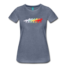 Load image into Gallery viewer, Women's Retro Rainbow Horse T-Shirt - heather blue