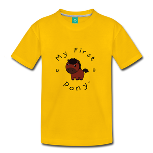 Kids' My First Pony T-Shirt (brown) - sun yellow