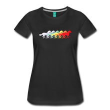 Load image into Gallery viewer, Women's Retro Rainbow Horse T-Shirt - black