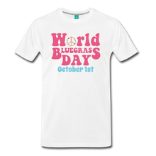Load image into Gallery viewer, Men's 60s-Retro World Bluegrass Day T-Shirt - white