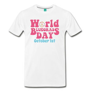 Men's 60s-Retro World Bluegrass Day T-Shirt - white