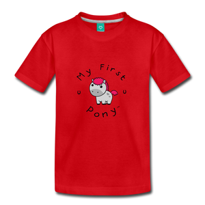 Toddler My First Pony T-Shirt (light grey) - red