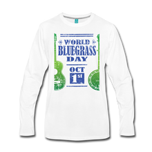 Load image into Gallery viewer, Men's Faded Blue/Green World Bluegrass Day Long Sleeve Shirt - white