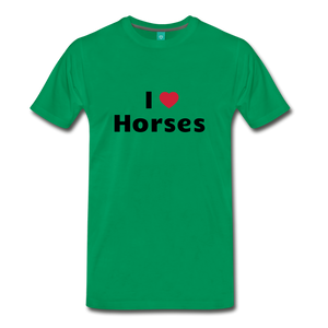 Men's I Love Horses T-Shirt - kelly green