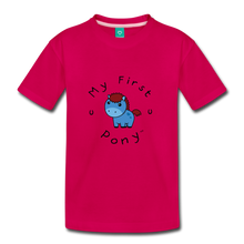 Load image into Gallery viewer, Kids' My First Pony T-Shirt (blue) - dark pink