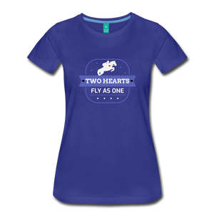Women's Two Hearts Fly as One T-Shirt - royal blue