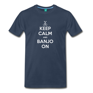 Men's Keep Calm and Banjo On T-Shirt - navy