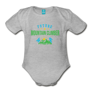 Future Mountain Climber Baby Bodysuit - heather gray