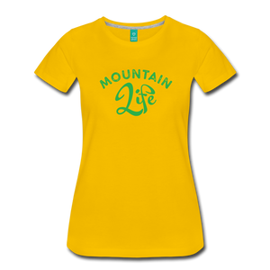 Women's Mountain Life (script) T-Shirt - sun yellow