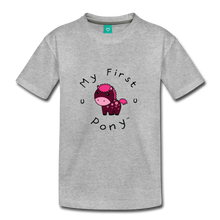 Load image into Gallery viewer, Kids' My First Pony T-Shirt (magenta) - heather gray