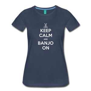 Women's Keep Calm Banjo On T-Shirt - navy