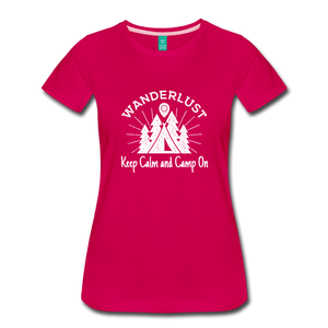 Women's Keep Calm, Camp On (white) - dark pink