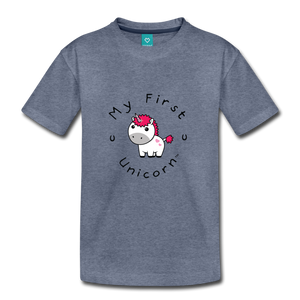 Kids' My First Unicorn T-Shirt (white) - heather blue