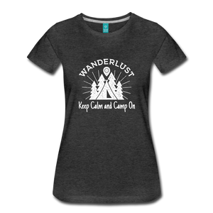 Women's Keep Calm, Camp On (white) - charcoal gray