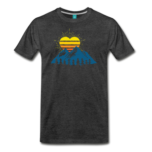 Men's Mountains Sun Heart T-Shirt - charcoal gray