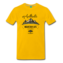Load image into Gallery viewer, Men's Dark Authentic Mountain Life Clothing Co. T-Shirt - sun yellow