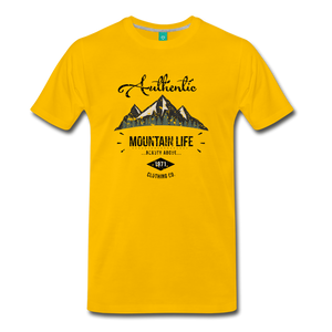 Men's Dark Authentic Mountain Life Clothing Co. T-Shirt - sun yellow