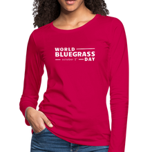 Load image into Gallery viewer, Women's White World Bluegrass Day Long Sleeve T-Shirt - dark pink