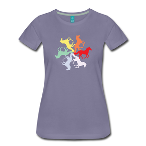 Women's Rainbow Horse Circle T-Shirt - washed violet