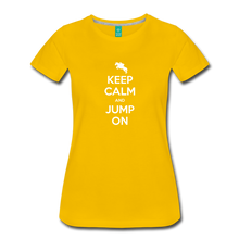 Load image into Gallery viewer, Women's Keep Calm and Jump On T-Shirt - sun yellow