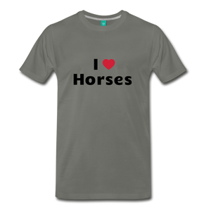 Men's I Love Horses T-Shirt - asphalt